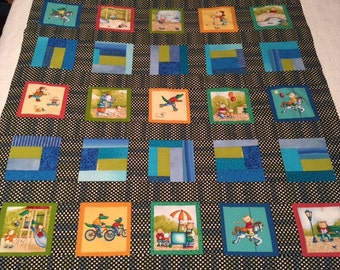 Scrappy Baby Quilt Ready to Quilt- At the Park