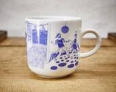Nautical Porcelain coffee mug, tea cup by Ahoi Marie - Design Harbor pub - maritime style - blue and white - navy blue