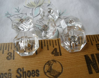 """Clear Lucite dot rhinestone faceted Buttons 5/8"""" (24L 15mm) self shank asscher cut plastic vintage retro sewing paper tag supply"""