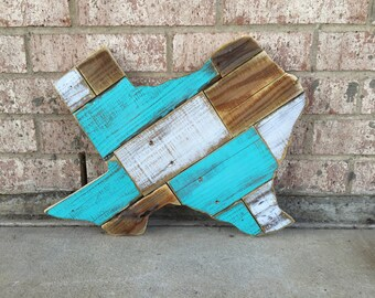 Texas Wood Sign - Reclaimed Wood Turquoise Texas Wood Cut Out