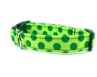 Modern Dot in Lime Dog Collar - Colorful Dog Collar / Made to Order
