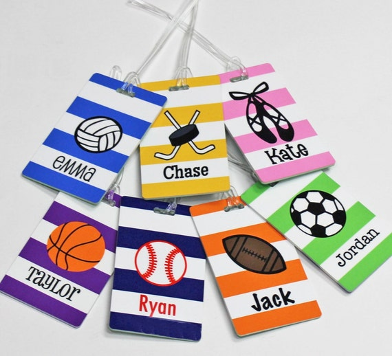 Personalized Sports Bag Tag - Custom Dance Bag Tag - Backpack Tag - ID TAG - Kids Tag