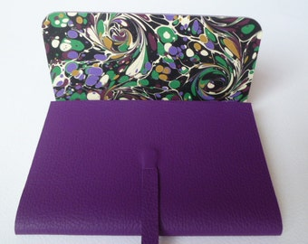 Leather Sketchbook Leather Journal Travel Journal. Purple Leather Lined with a Bold English Hand made Marbled Paper.