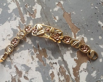 Gold Filled Flower Link bracelet 1/20 GF Bracelet