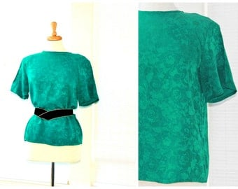 Green pure silk blouse / 80s keyhole back button & retro shoulder pads / emerald jade teal dressy jacquard luxury fashion / spring summer