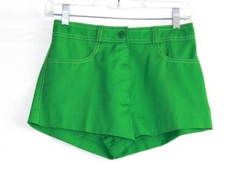 70s kelly bright green shorts hot pants /  hipster groovy retro fashion / vintage Bronson of California / womens xs size