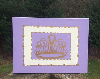 Princess Crown Wall Art, Girls Bedroom Canvas, Lilac and Metallic Gold Decor, Babies Bedroom Art