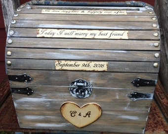 Rustic Large Stained Custom Wedding Card Money Box With CARD SLOT  Initials - Love Quotes Romantic Fairy tale Whimsical Treasure Box