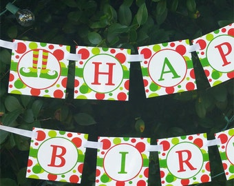 Elf Feet Happy Birthday Banner Printable - Instant Download - Elf Collection