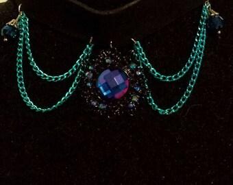 Black Leather Blue Crystal Choker
