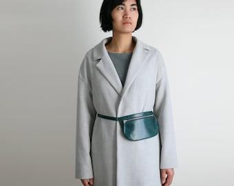 Flat Belt Bag Deep Lake Green, Leather Fanny Pack, Hip Bag, Mini bum bag, festival bag