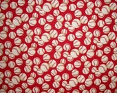 Baseball Fabric, Alexander Henry, Sewing Crafting Fabric, Red White, By The Yard, Designer, Summer Fabric