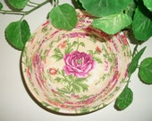 Coiled Fabric Bowl Basket Rose Flower Springtime Kitchen Decor Home Decor