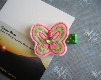 Butterfly - Embroidered Felt Clippies - Felt Hair Clips - Pink, Spring Green