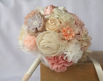 Spring wedding bouquet, peach blush ivory bouquet, fabric flowers bouquet