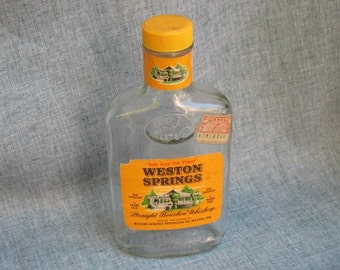Vintage Whiskey Bottle Weston Springs Straight Bourbon Whiskey 1/2 pint McCormick Bottle Kansas Stamp