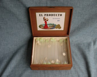 Vintage Cigar Box El Producto Queens with 25 Glass Cigar Tubes with Caps