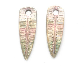Leaf or Feather Dangles Handmade Bronze with Iridescent Color