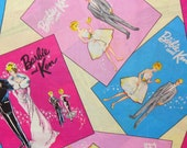 """Barbie and Ken Fabric, Retro Barbie and Ken, In Rectangles, High Fashion Dolls, Mattel Dolls, 1950's Dolls,  31"""" by 44"""",  Cotton Fabric"""