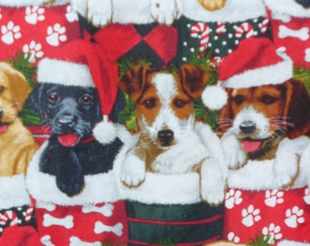 Christmas Dogs, Dogs in Stockings, Christmas Puppies, Christmas Fabric, Dogs in Hats, By the Yard, Cotton Fabric