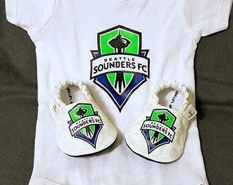 Seattle Sounders FC Baby Booties and Sounders FC Baby Onesie - Handmade