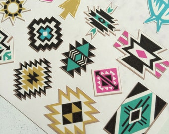 Southwestern Animals and Patterns Stickers for Scrapbooks, Cards, Journals, Planners and More!