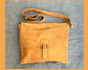 BOHO  suede leather bag in  CARAMEL BROWN. Soft patent genuine suede leather bag. Crossover, messenger bag in suede. Festival,  Ibiza bags