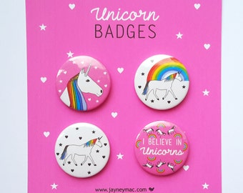 Unicorn Badges/Buttons/Pins 4 pack