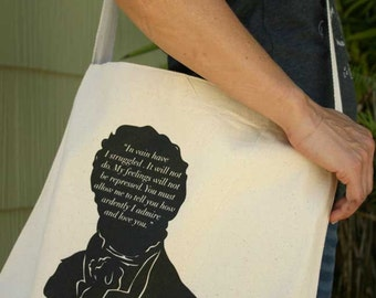 Mr Darcy Messenger Tote Bag - Pride and Prejudice Quote - Canvas Bag - Mothers Day Gift - Book Bag - Bookish - Teacher Appreciation -