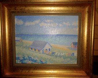 SALE! Wonderful Gail Beutel Impressionism Painting Laundry Line 1996 SALE!!