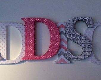 Wooden  letters for nursery in watermelon, gray and white.