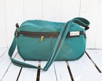 Emerald Weekender bag, Zipper Canvas Airline bag, Messenger Cross Body, Camera bag, Overnight bag, Emerald green May Birthday, American size