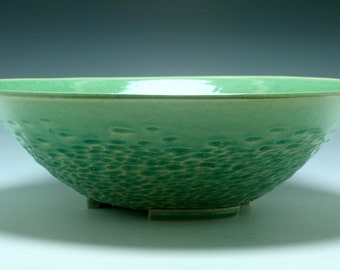 HUGE Handmade Porcelain Ceramic Serving Bowl in Emerald Green with hand carved texture/Ceramics and Pottery