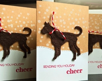 Dog Holiday Cards Set of 3, Great Dane Cards, Dog Christmas Greeting Cards Set
