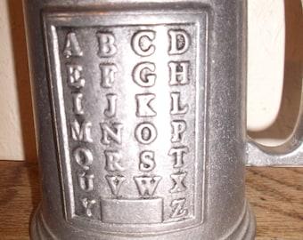 Antique English Childs Pewter Alphabet Cup Metal Mug