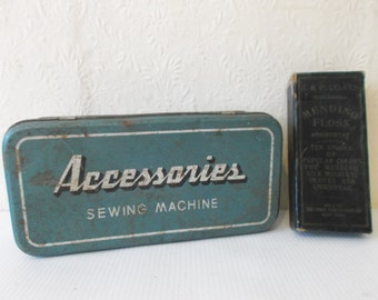 Antique Millinery Sewing Accessories Tin and J&P Coates Box Vintage Sewing Supplies