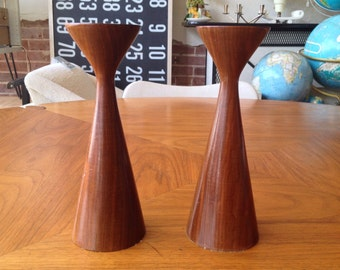 Pair Turned Wood Candle Holders Danish Modern