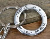 Latitude Longitude Key Chain , GPS Coordinate Keychain, Personalized Gift for Him, Mens Valentines, Mens Anniversary Gift