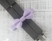 Boy Suspender Bow Tie Set - Lavender Bow Tie - Gray Suspenders - Wedding Accessory