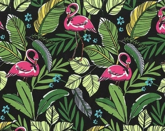 Michael Miller Fabric - Flamingos in Paradise in Black - By The Yard