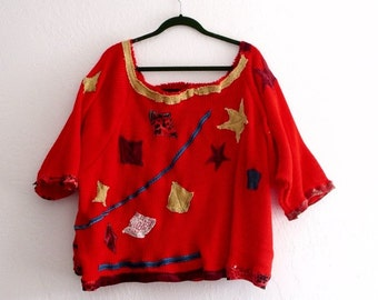 Holidays Sale Christmas Gold Red embellished Sweater. Art to Wear Ethical Fashion