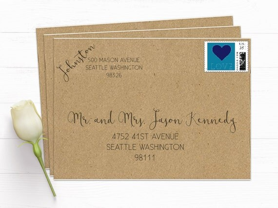 How To Write On Envelope For Wedding Invitations: Recipient And Return Address Calligraphy Look By