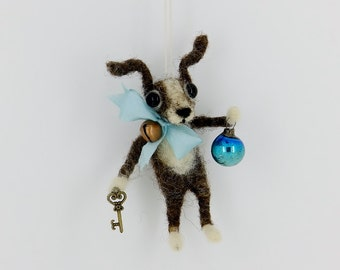 Terrier Chihuahua Puppy Dog Feather Tree Ornament Wool Needle felted Vintage German Style silk ribbon bell OOAK - Little Finn Frost