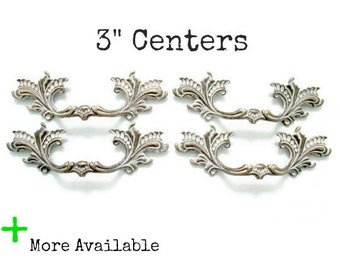"4 French Provincial Drawer Handles - Custom Dresser Pulls 3"" centers"