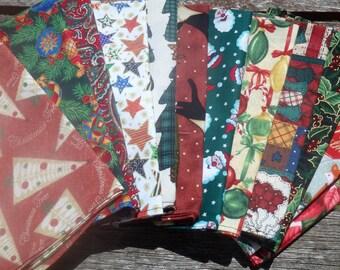 Christmas Napkins, Holiday Napkins, Cloth Napkins, Cotton Napkins, Dinner Napkins, Luncheon Napkins, Hostess Gifts - Twelve Different Prints