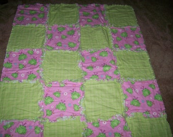 Pink and Green Shaggy Frog Throw
