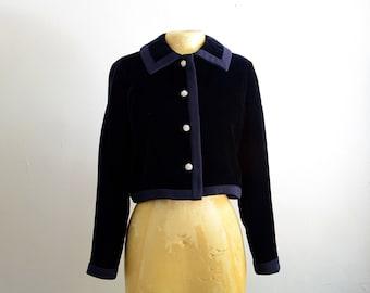 60s Cropped Navy Velvet Evening Jacket