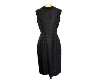 Vintage 50s Black on Black Houndstooth Silk Brocade Wiggle Dress