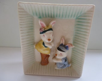 Vintage Wall Pocket with Bunnies Vintage Ceramic Wall Pocket by Florart