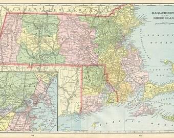 MASSACHUSETTS, RHODE ISLAND U.S.A.State Maps - 1899 Book plate
